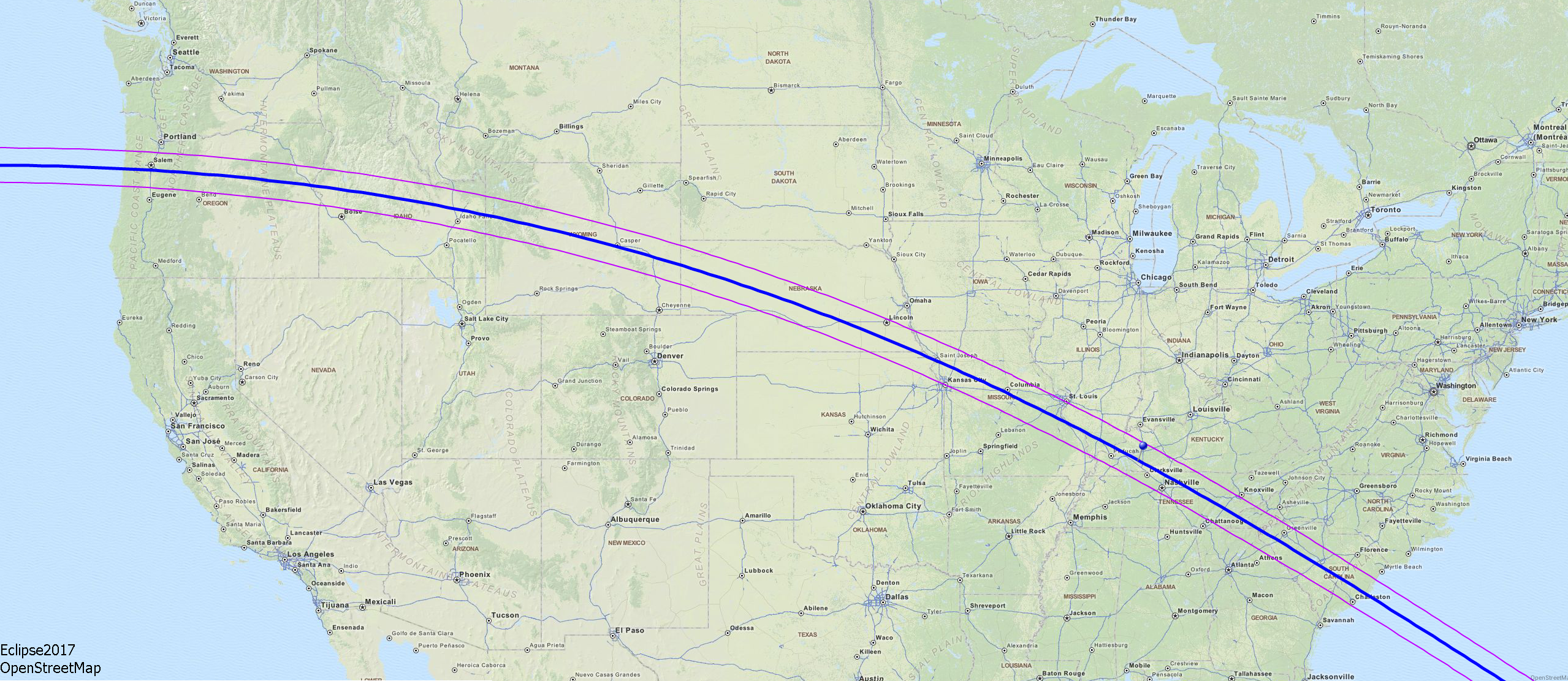 Experience The Total Solar Eclipse Aug The Soggy Astronomer - Google map of path of us total solar eclipse 2017